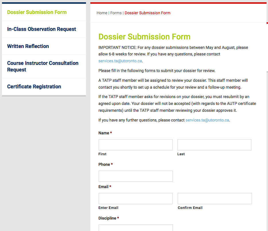 Dossier Submission Form Photo
